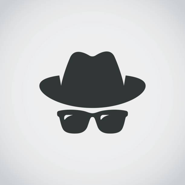 Agent icon. Spy sunglasses. Hat and glasses Agent icon. Spy sunglasses. Hat and glasses detective stock illustrations