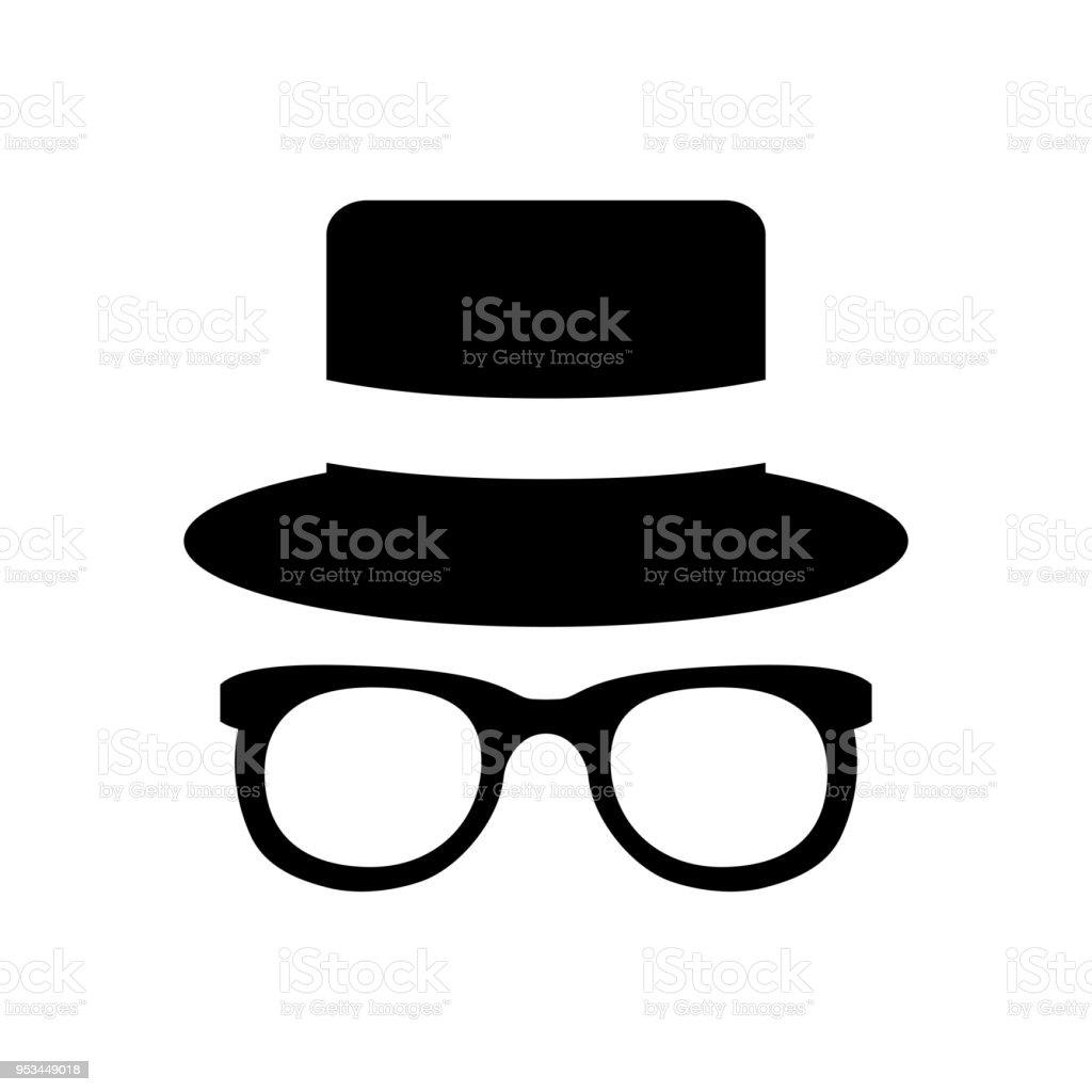 Ilustración de Icono Del Agente Gafas De Sol Espía Sombrero Y Gafas ...
