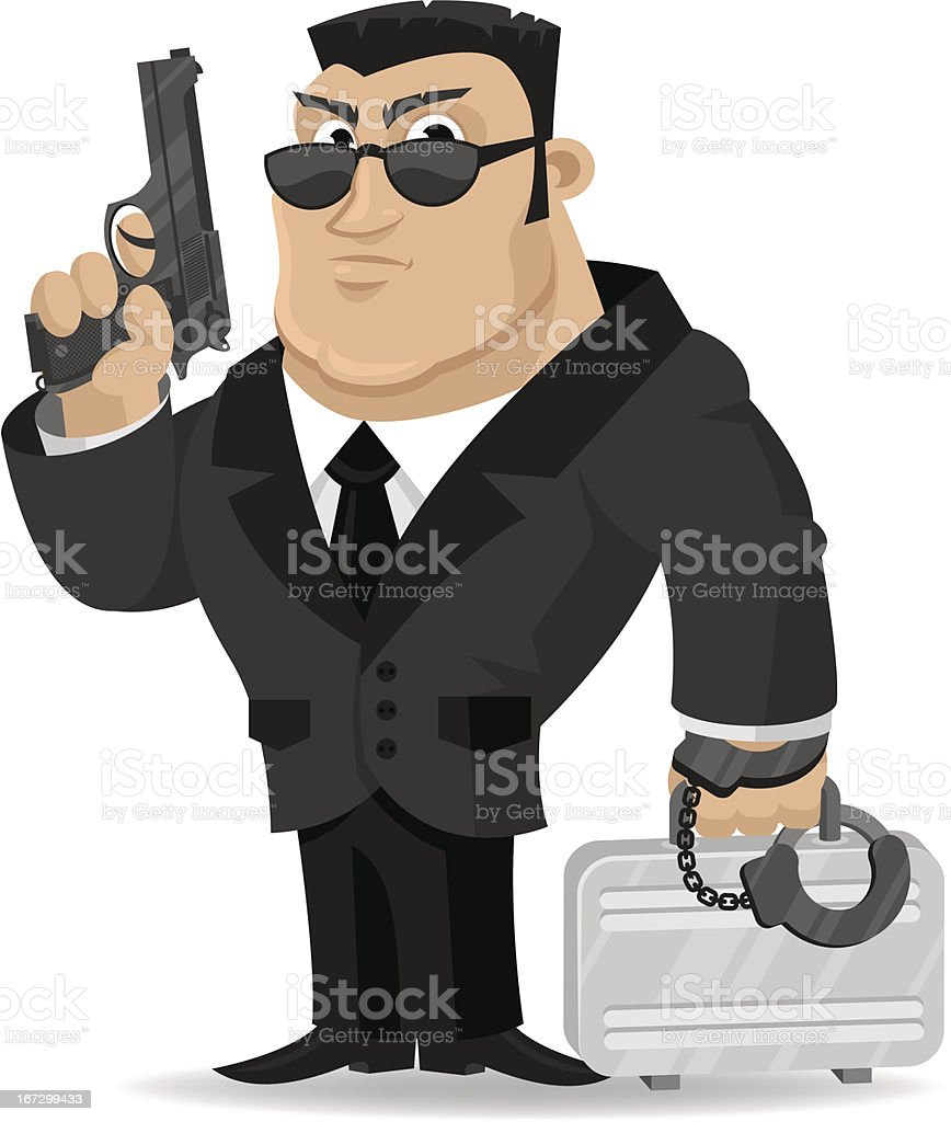 Agent keeps gun and suitcase royalty-free stock vector art