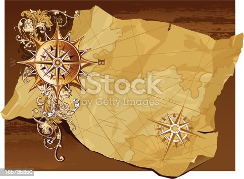 Decorative image of age-old compass and map