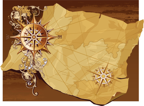 Age-old compass and map