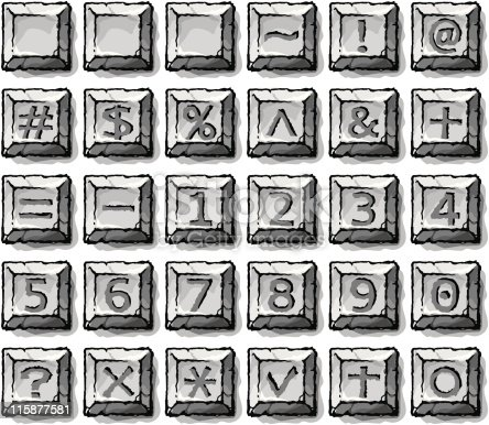 27 vector symbols. Total 27 buttons with age-old style stone effects. Artistic, elegancy, archaize and bravery. Includes version 8 Illustrator EPS file for vector editing, fully editable.