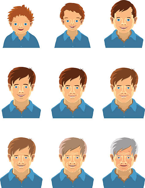 age-related changes - old man smiling backgrounds stock illustrations, clip art, cartoons, & icons