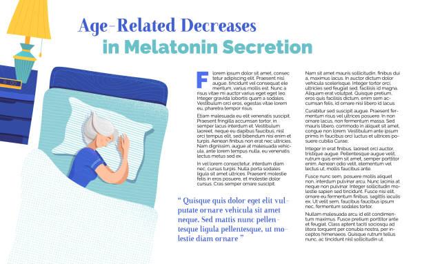 stockillustraties, clipart, cartoons en iconen met leeftijdsgebonden dalingen in melatonine secretie banner sjabloon - woman home magazine