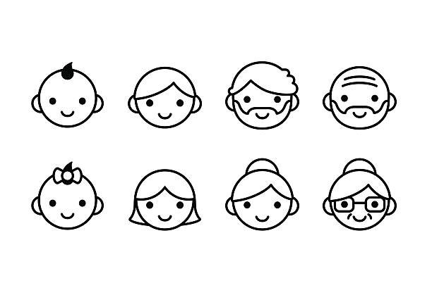ilustraciones, imágenes clip art, dibujos animados e iconos de stock de iconos de las edades - abuelo