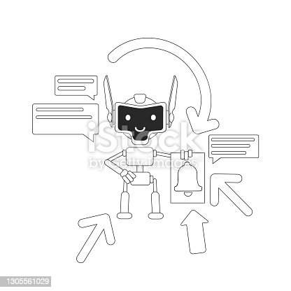 istock Aggregator bot thin line concept vector illustration. Automated newsletter. Mails and news sending robot 2D cartoon character for web design. Digital email marketing assistant creative idea 1305561029
