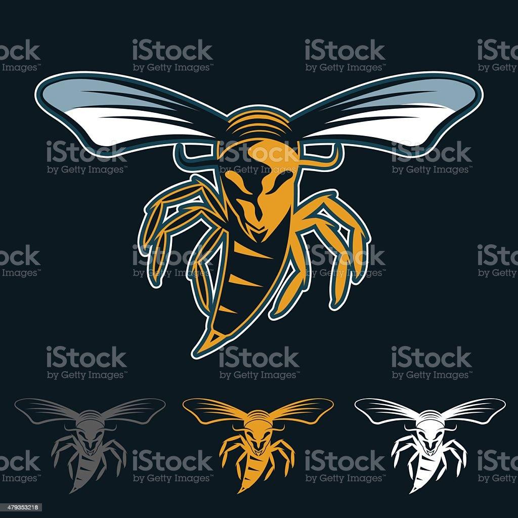 aggressive bee or wasp mascot vector art illustration