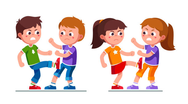 Aggressive bully preschool boys, girls kids fighting each other kicking legs. Violent childhood behavior. Bullying children cartoon characters. Flat vector clipart illustration. Angry preschool boys, girls kids fighting each other kicking legs. Aggressive bully kids fight. Bullying children cartoon characters set. Childhood aggression violence. Flat style vector illustration isolated  on white background. arguing stock illustrations