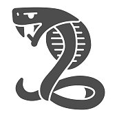 istock Aggressive cobra solid icon, halloween concept, snake sign on white background, serpent icon in glyph style for mobile concept and web design. Vector graphics. 1282236915