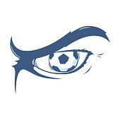 Aggressive Man Eye with Football / Soccer Ball. Creative Sketch.