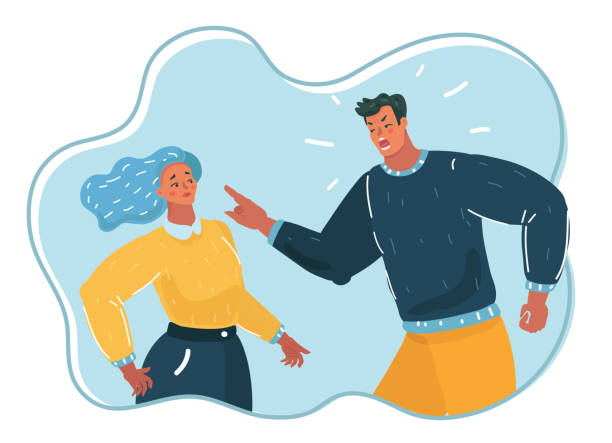 Aggressive man yelling at woman. Vector cartoon illustration of people. Aggressive man yelling at woman, angry husband, psychological pressure, violence, unbalanced man. arguing stock illustrations