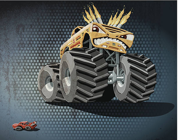 Aggressive Monster Truck Grunge Color Grunge vector artwork of an aggressive cartoon Monster Truck, who poses a threat to a daunted little car. The colors in the .eps-file are ready for print (CMYK). Transparencies used. All objects are on separate layers. Included files: EPS (v10) and Hi-Res JPG. motor sport stock illustrations