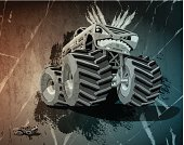 Digital grunge vector artwork of an aggressive cartoon Monster Truck, who poses a threat to a daunted little car. The colors in the .eps-file are ready for print (CMYK). Transparencies used. All objects are on separate layers. Included files: EPS (v10) and Hi-Res JPG.