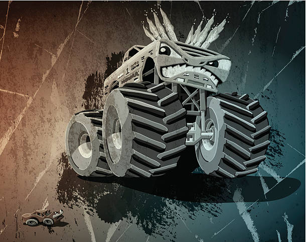 Aggressive Monster Truck Grunge Digital grunge vector artwork of an aggressive cartoon Monster Truck, who poses a threat to a daunted little car. The colors in the .eps-file are ready for print (CMYK). Transparencies used. All objects are on separate layers. Included files: EPS (v10) and Hi-Res JPG. motor sport stock illustrations