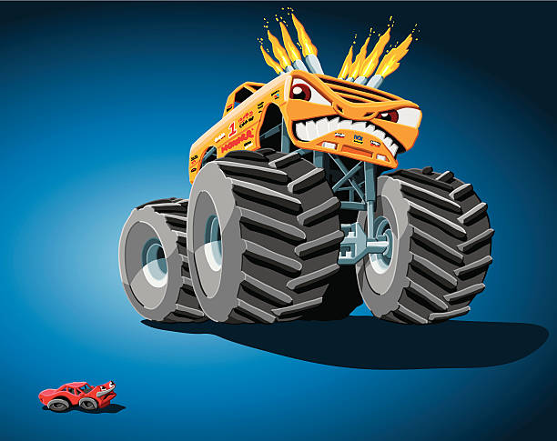 """Aggressive Monster Truck """"Hand-drawn Vector Illustration of an aggressive cartoon Monster Truck, who poses a threat to a daunted little car. The background is on a separate layer, so you can use the illustration on your own background. The colors in the .eps-file are ready for print (CMYK). Included files: EPS (v8) and Hi-Res JPG."""" motor sport stock illustrations"""
