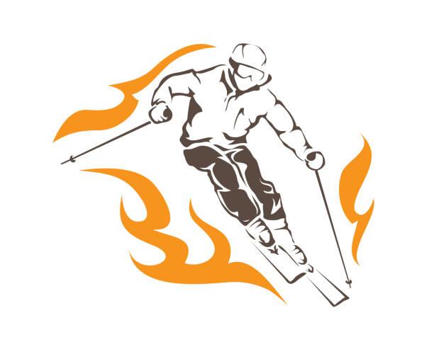 illustrazioni stock, clip art, cartoni animati e icone di tendenza di aggressive on fire ski player athlete in action illustration - negozio sci