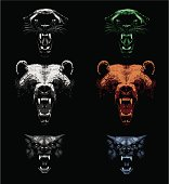 Black leopard, brown bear and wolf. Hand drawing - lights and shadows style.