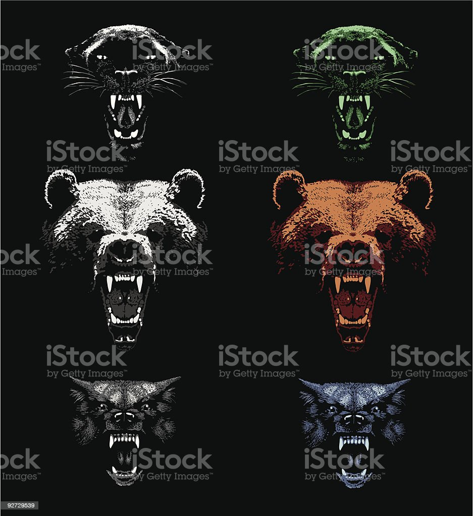 Aggressive Predators vector art illustration