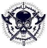 Aggressive skull pirate emblem Jolly Roger with weapons and other design elements, vector vintage style tattoo dead head.