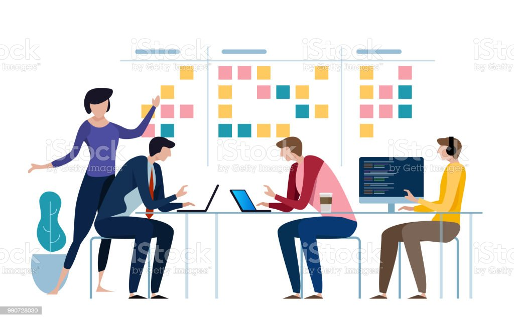 Agile business team of programmer working and make some planning on the scrum board. Whiteboard and process teamwork, scheme methodology. Vector illustration vector art illustration