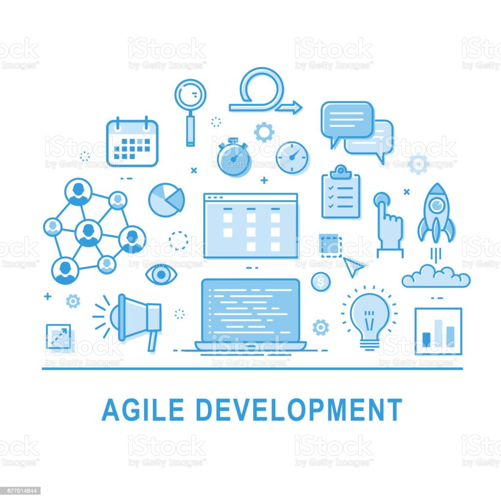 Agile development. Business intelligence vector art illustration