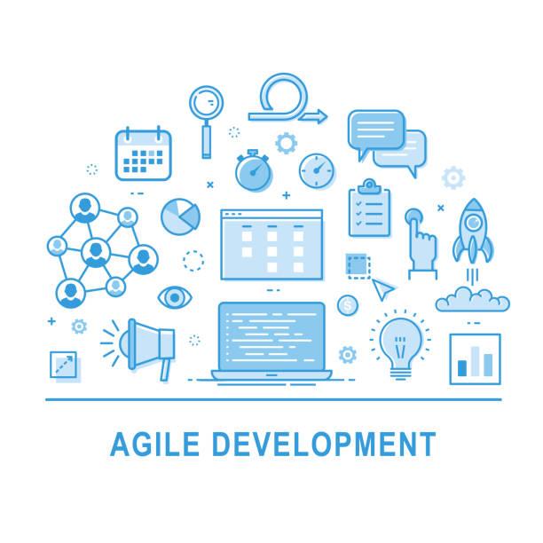 Agile development. Business intelligence vector art illustration