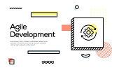 Agile Development Concept. Geometric Retro Style Banner and Poster Concept with Agile Development icon