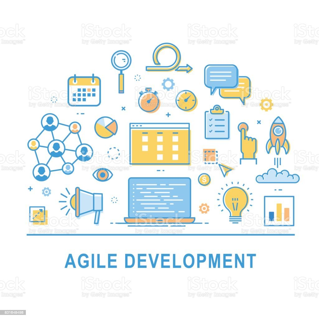 Agile development icon vector vector art illustration