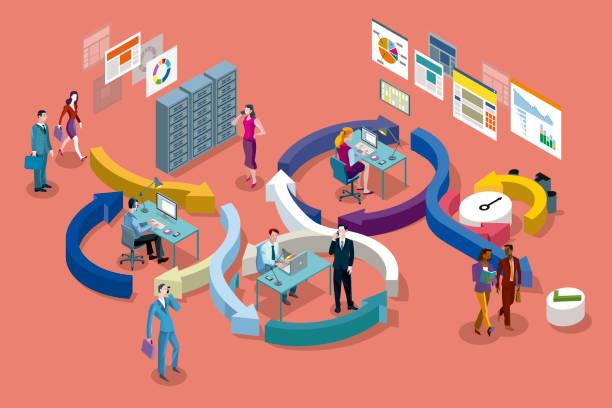 agile development method isometric - flowing stock illustrations