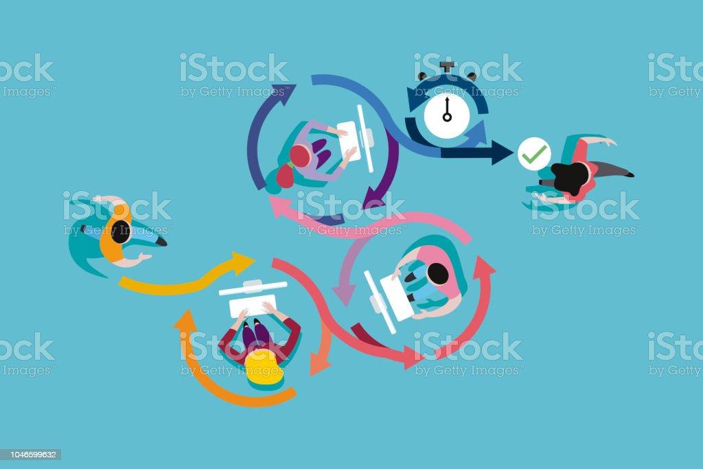 Agile Development Method vector art illustration