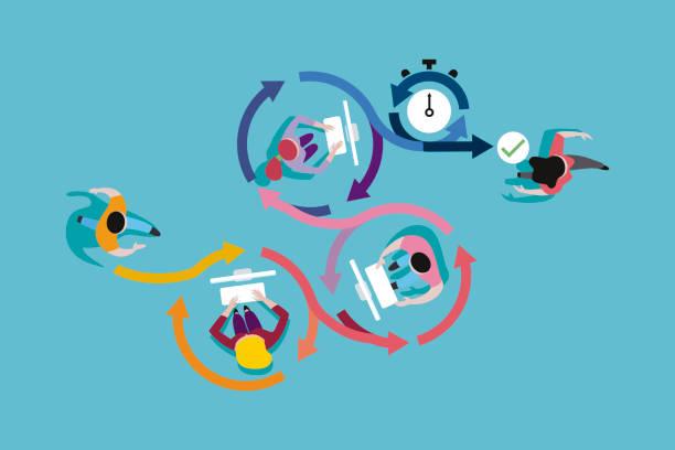agile development method - organizacja stock illustrations