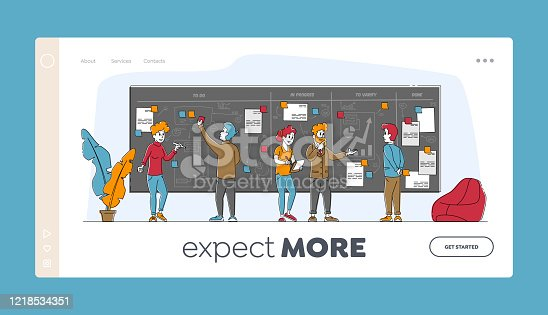 istock Agile Development Software Methodology Landing Page Template. People Characters Sticking Papers on Scrum Task Board Planning and Analyzing Working Process, Work Lifecycle. Linear Vector Illustration 1218534351