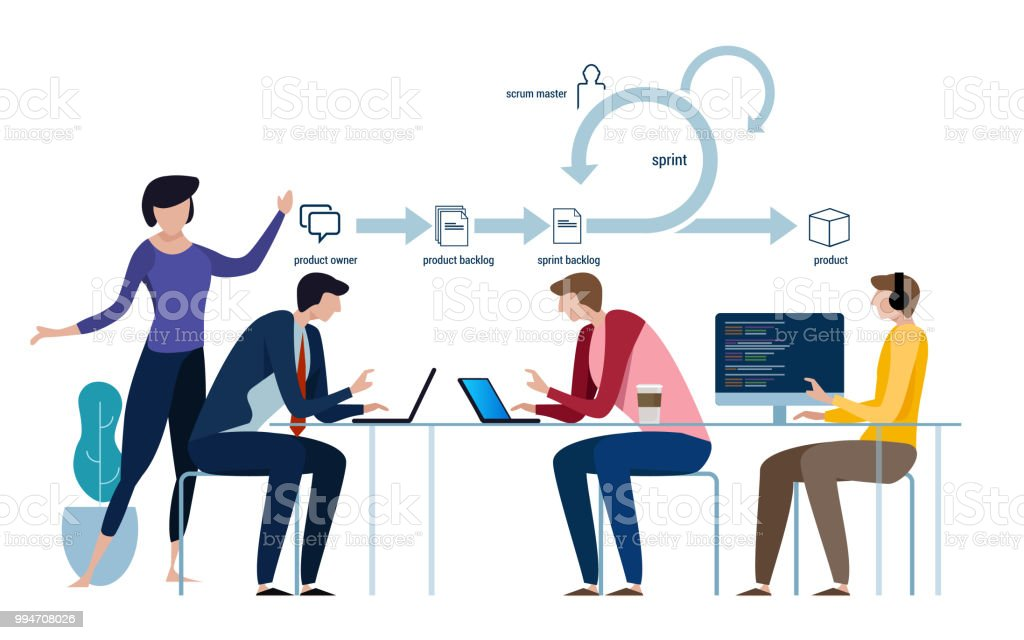 agile development software methodology, scrum diagram and concept, icon and symbol. team work lifecycle vector art illustration