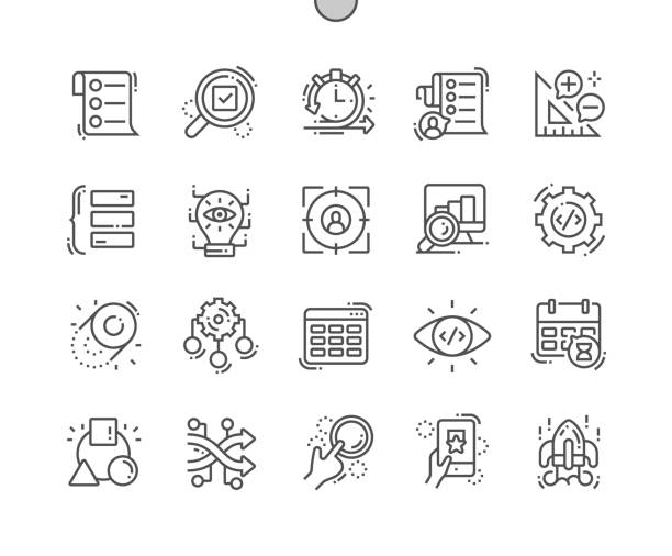 Agile development Well-crafted Pixel Perfect Vector Thin Line Icons 30 2x Grid for Web Graphics and Apps. Simple Minimal Pictogram Agile development Well-crafted Pixel Perfect Vector Thin Line Icons 30 2x Grid for Web Graphics and Apps. Simple Minimal Pictogram qualification round stock illustrations