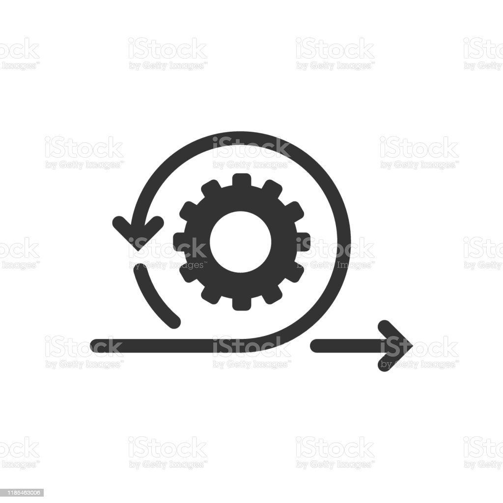 Agile icon in flat style. Flexible vector illustration on white isolated background. Arrow cycle business concept. - Royalty-free Codificar arte vetorial