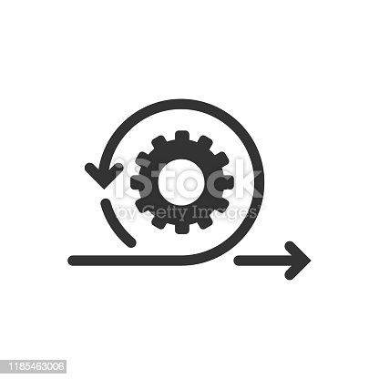 istock Agile icon in flat style. Flexible vector illustration on white isolated background. Arrow cycle business concept. 1185463006