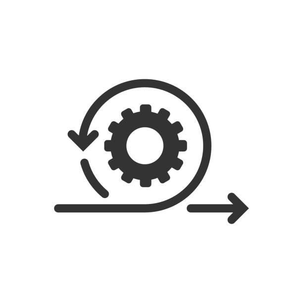 ikona agile w stylu płaskim. elastyczna ilustracja wektorowa na białym izolowanym tle. koncepcja biznesowa cyklu strzałek. - ruch stock illustrations