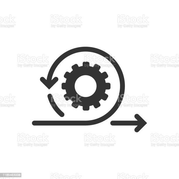 Agile Icon In Flat Style Flexible Vector Illustration On White Isolated Background Arrow Cycle Business Concept - Arte vetorial de stock e mais imagens de Codificar