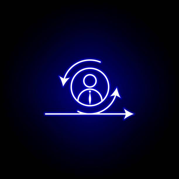 agile, manager, arbeiter ikone. elemente der menschlichen ressourcen illustration in neonstyle icon. schilder und symbole können für web, logo, mobile app, ui, ux verwendet werden - projektmanager stock-grafiken, -clipart, -cartoons und -symbole