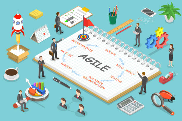 Agile methodology flat isometric vector concept. Flat isometric vector concept of agile methodology, software product development. changing form stock illustrations