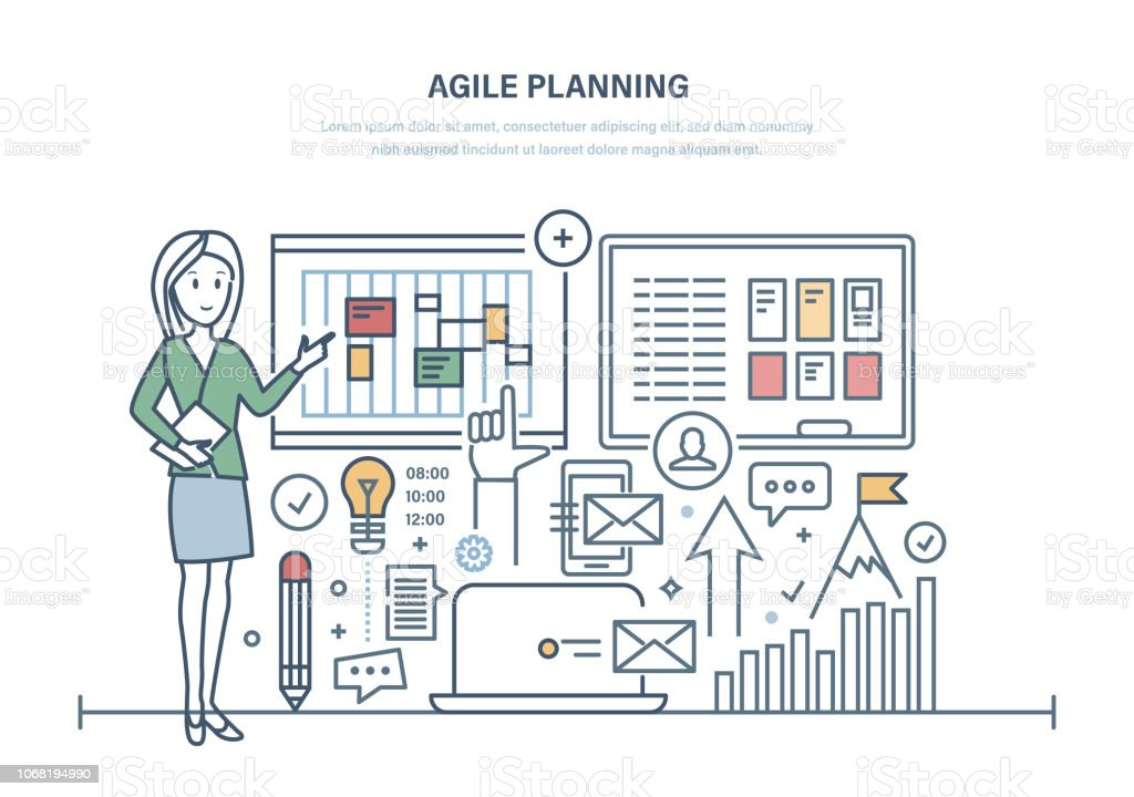 Agile planning of business, organization of working time, team management. vector art illustration