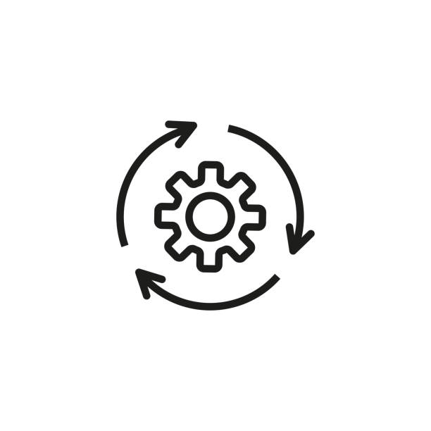Agile process line icon Agile process line icon. Gear, arrow, circle, cycle. Agile development concept. Vector illustration can be used for topics like update, technology, engine software update stock illustrations