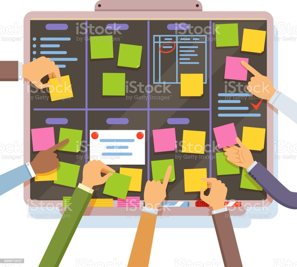 Agile project plan. Hands holding and put notes on the planning board vector art illustration