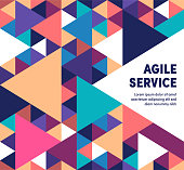 Agile services template design with abstract background. Modern and geometric vector illustration to use as promotion web banners for social media.