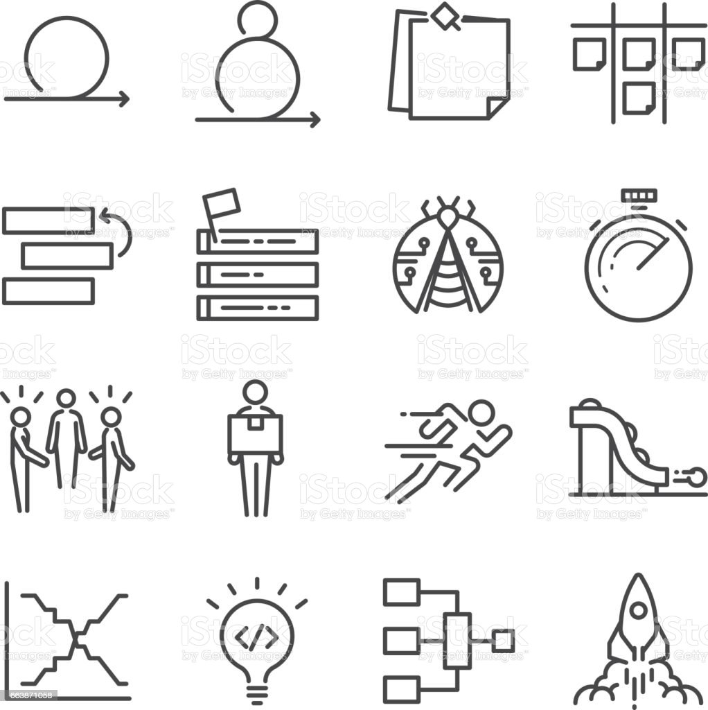 Agile Software Development icons set vector art illustration