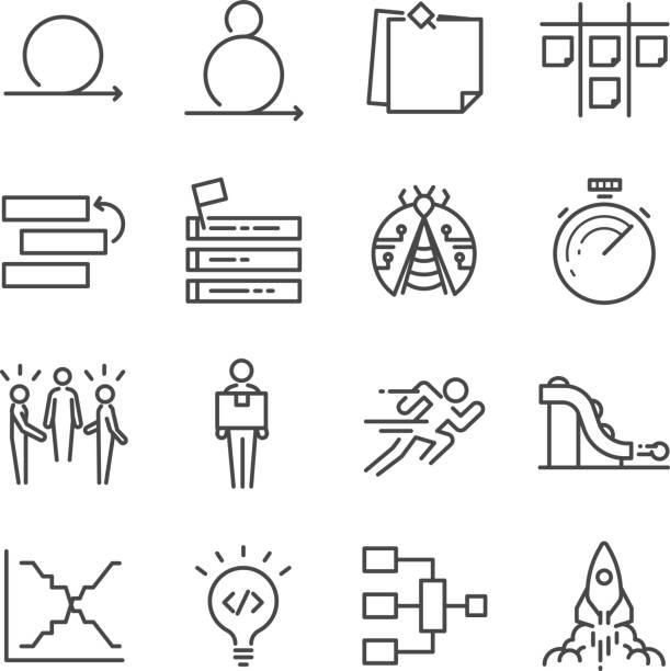 Agile Software Development icons set vector art illustration