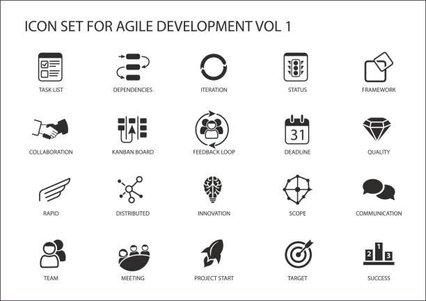 Agile software development vector icon set vector art illustration