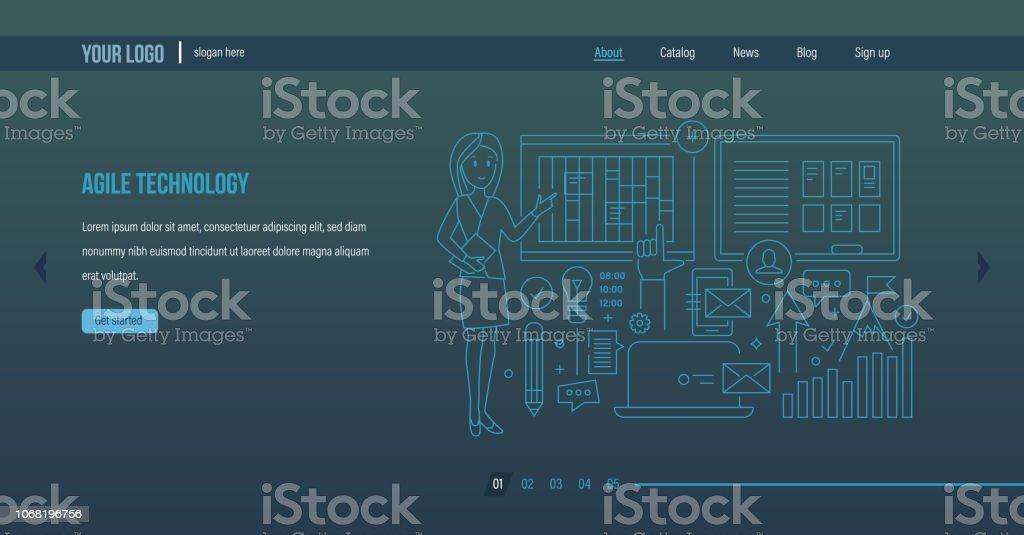 Agile technology. Agile software development, planning of business, improving efficiency. vector art illustration