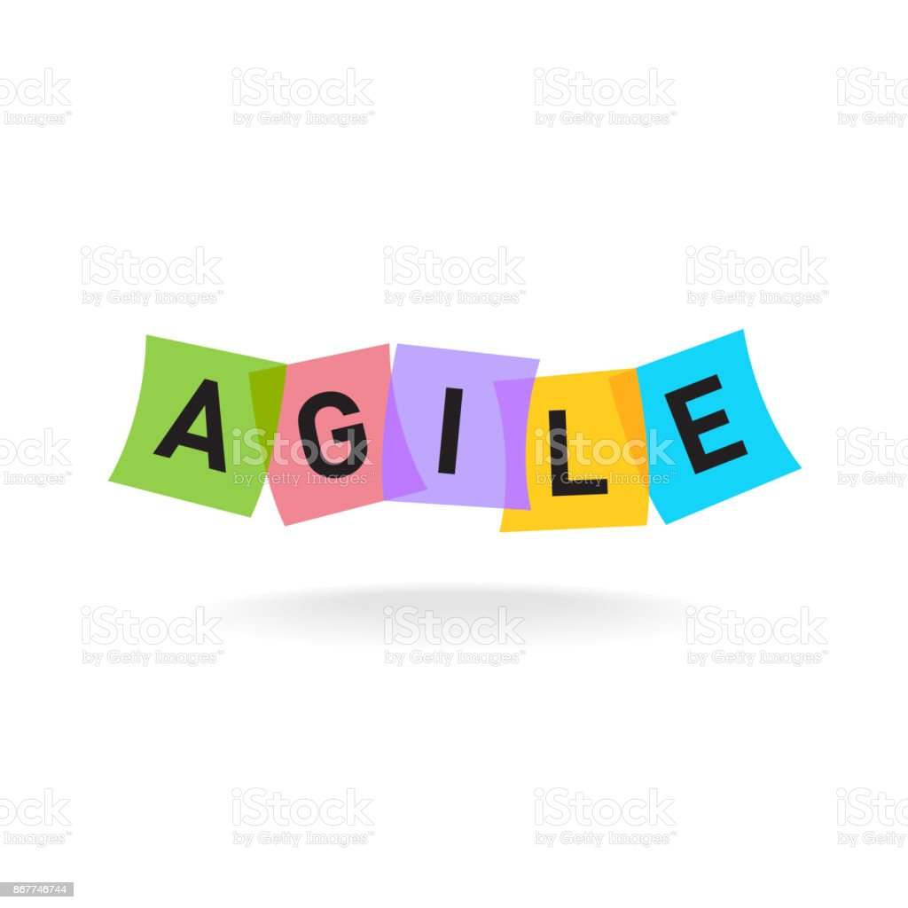 Agile word symbol. Agile letters with overlay color square office vector art illustration