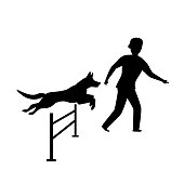 agility dog training silhouette graphic